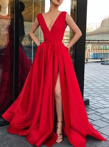 Red Long Prom Dress V-neckline with Pockets, Sexy Slit Evening Gown OP662