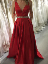 Red Prom Dresses A-line V-Neck Satin With Beading Formal Gown OP626