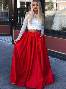 Red Prom Dresses Lace Long Sleeves A Line Satin Two Pieces OP580