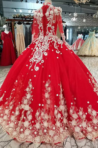Red Quinceanera Dress Long Sleeves Applique Prom Dress Ball Gown OP437