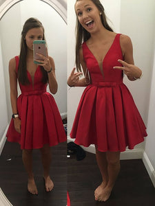 Red Satin V Neck Straps Short Prom, Homecoming Dresses, OP189
