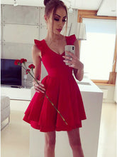 A-Line Straps Scoop Tiered Satin Short Red Homecoming Party Dress, OP175