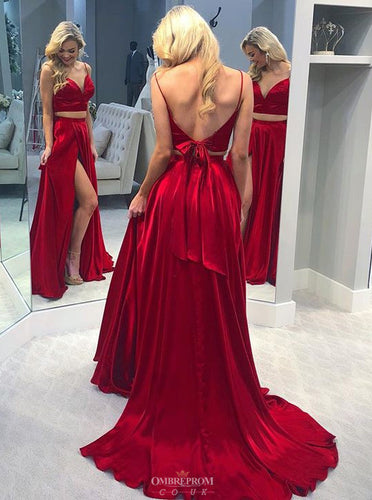 Burgundy Two Piece Long Prom Gown, Sexy Split Backless Evening Dress OP488