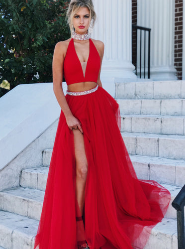 Red Two Piece Prom Dress High Neck Beading Long Evening Dress With Slit OP617