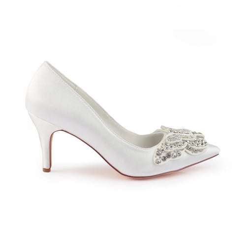 Rhinestone Wedding Shoes Ivory, Bridal Party Shoes OS101