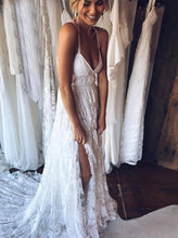 Spaghetti-straps Cross Back Backless Beach Lace Wedding Dress, OW318