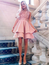 Chic Pink Round Neck Tiered A-Line Homecoming Dress OM123