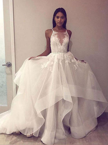 Round Neck Tulle Lace Long Prom Dress Open Back Wedding Dress OW332