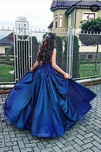Strapless Royal Blue A-line Princess Sweetheart Long Prom Dress OP506