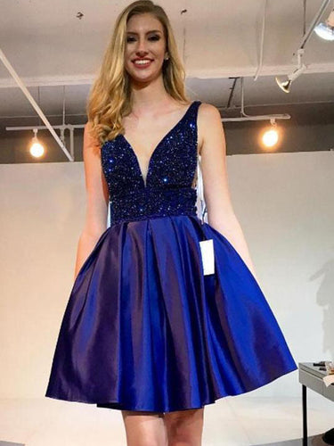 Royal Blue Plunging Neck Beaded Short Prom Dresses, Formal Dresses UK, OM103