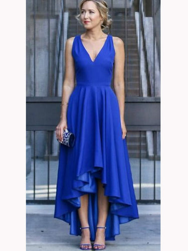 Royal Blue Straps High Low Prom Dress, Asymmetry Wedding Guest Dress, OP213