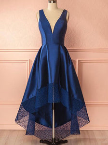 Royal Blue High Low Prom Dress Deep V-Neck With Lace Hem OP695