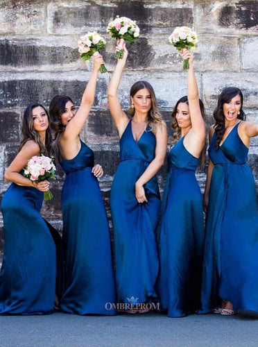 Royal Blue Long Bridesmaid Dresses A-Line V-neck Wedding Party Dresses OB202