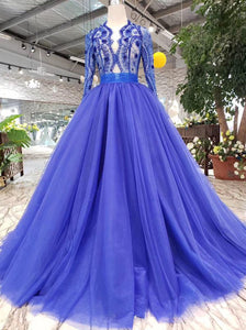 Royal Blue Long Sleeves Quinceanera Gown Tulle Lace Applique Beads Prom Dress OP641