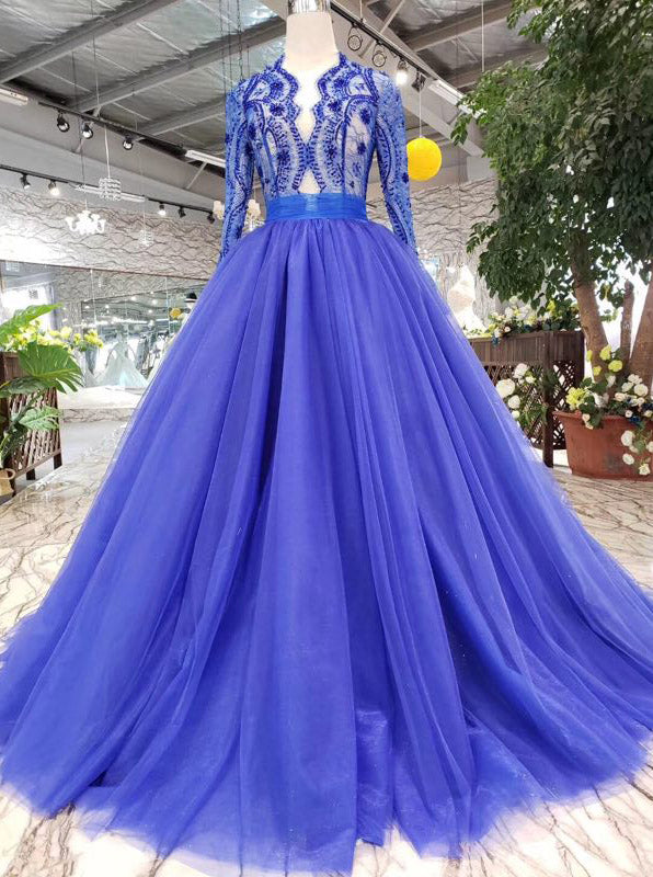 0fe49f2ca18 Royal Blue Long Sleeves Quinceanera Gown Tulle Lace Applique Beads Prom  Dress OP641 ...