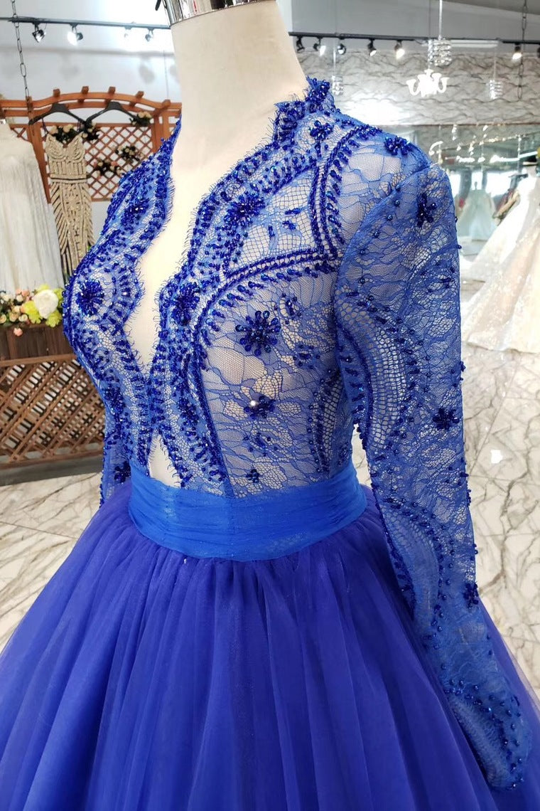 8d51ef212c4 ... Royal Blue Long Sleeves Quinceanera Gown Tulle Lace Applique Beads Prom  Dress OP641 ...