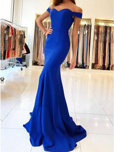 Royal Blue Mermaid Off-the-Shoulder Prom Evening Dress OP367