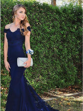 Royal Blue Mermaid Prom Dress Off-the-Shoulder with Lace Appliques OP407