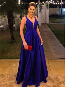 Royal Blue Satin Criss-Cross Backless Prom Evening Dress A-Line V-Neck OP321
