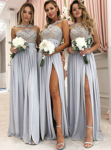 Satin Grey Long Bridesmaid Dresses High Neck Lace Appliques With Slit OB176