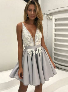 V-Neck Pleated Satin Prom Dress, Homecoming Dress with Appliques, OP191