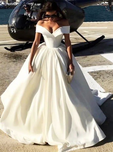Off-the-Shoulder Satin Wedding Dress, Ball Gown Quinceanera Dress, OW321