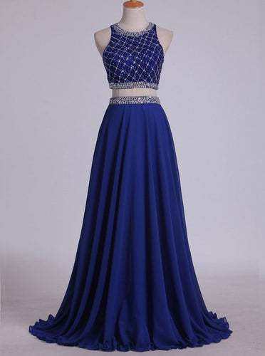 Scoop Tulle/Chiffon Two Pieces Sleeveless Beading Blue Long Prom Dress OP320