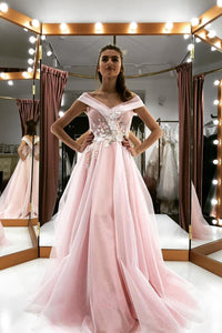 See-Through Mesh Pink Long Prom Dress Off-Shoulder Quinceanera Dresses OP468
