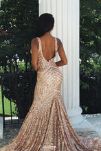 Sequin Backless Mermaid V-neck Rose Gold Prom Party Dress OP526