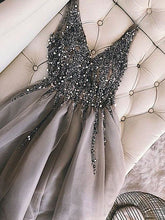 Sequins Beaded V-neck Tulle Short Prom Dresses, Party Dresses, OP203