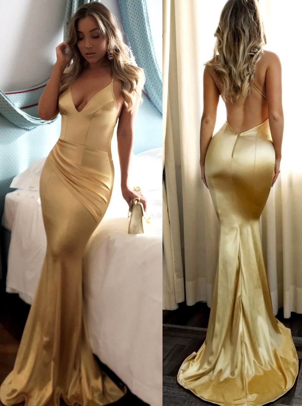 Sexy Backless Evening Party Gown Mermaid Gold Prom Dress OP593