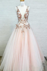 Sexy Backless Prom Dress Pearl Pink Tulle V-neck Appliques Graduation Gown OP445