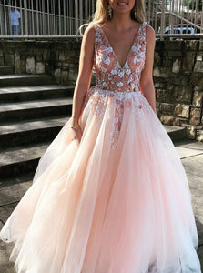 597584c843 Sexy Backless Prom Dress Pearl Pink Tulle V-neck Appliques Graduation Gown  OP445