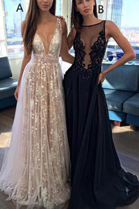 Sexy A-Line Deep V-Neck Backless Tulle Long Prom Dress OP472