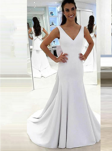 Sexy Bow-knot Back Mermaid Wedding Dresses Satin V-neck Bridal Gowns OW364