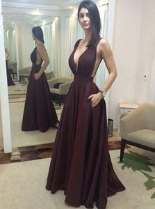 Sexy Long Prom Evening Dress Deep V Neck A Line Taffeta With Pocket OP338
