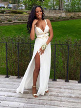 Spaghetti-straps V-neck Cut Out Long Prom Dresses, Sexy Slit Evening Dresses, OP214