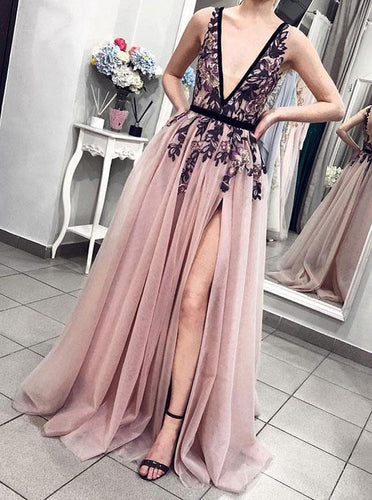 Sexy Pink Blush Plunging Neckline Appliques Tulle Long Prom Party Dress OP317