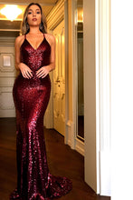 Sexy Sequins Burgundy Prom Dress Backless Mermaid Evening Gown OP427