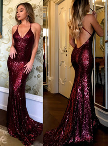 Sexy Sequins Burgundy Prom Dress Backless Mermaid Evening Gown OP427 ... c7705ec74
