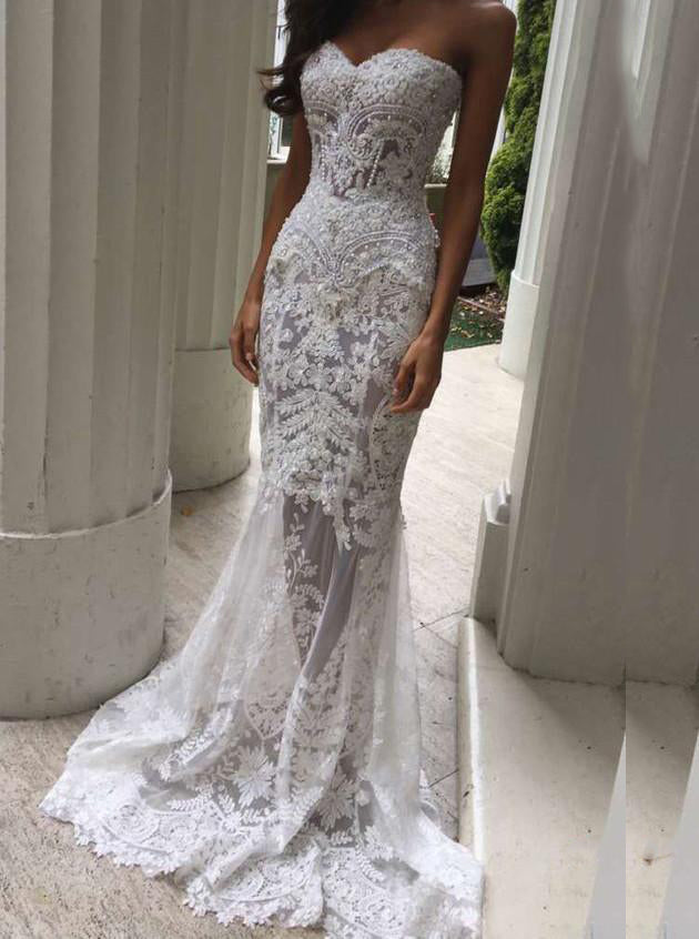 Sexy Sweetheart Lace Appliques Mermaid Beach Wedding Dress OW325