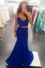Sexy Two Piece Mermaid/Trumpet Royal Blue Lace Long Prom Dress OP590