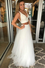 Sexy Two Piece Prom Dress Beaded Deep V Neck Tulle Party Gown OP558
