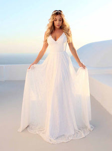 Sexy V Neck Backless Beach Boho Wedding Dress, White Lace Bridal Gown OW424