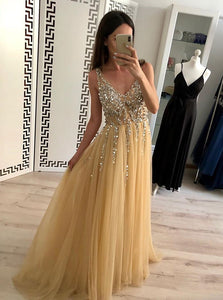 Sexy Golden V-neck Tulle Long Prom Dress Sequins Evening Dress OP446