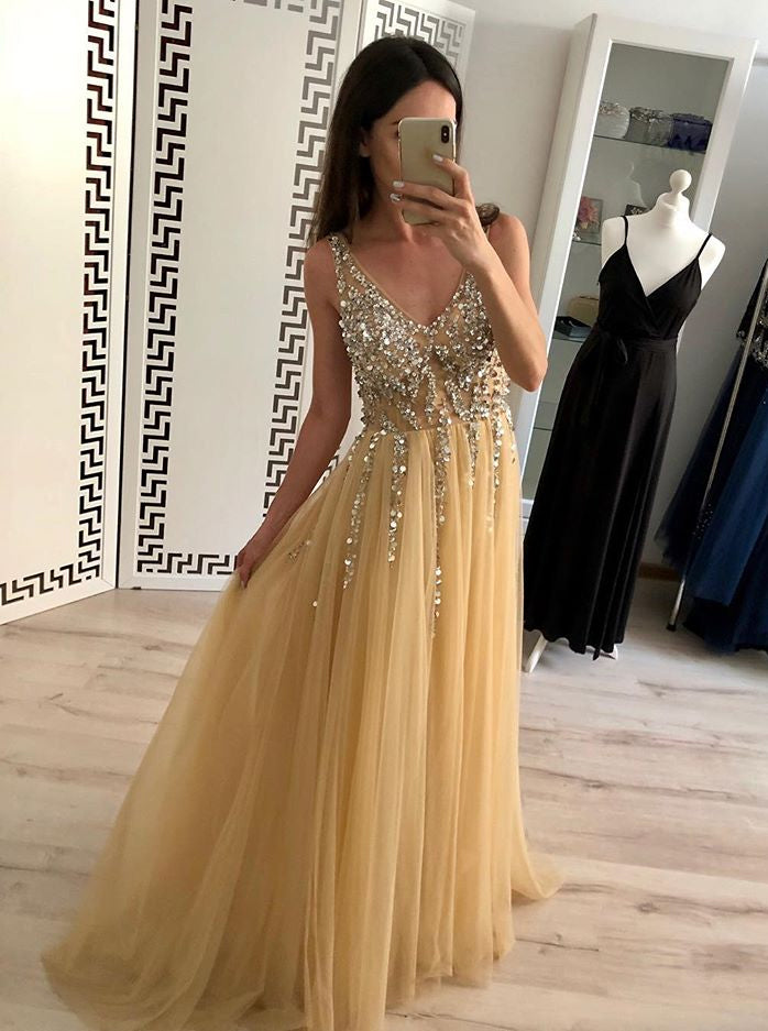 Sexy Yellow V-neck Tulle Long Prom Dress Sequins Evening Dress OP446