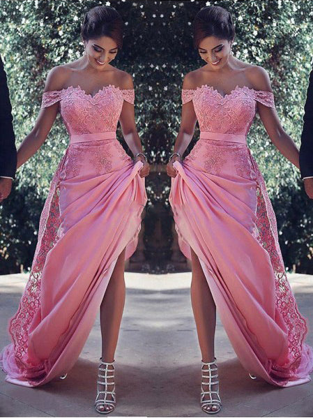 Sheath Off Shoulder Lace Prom Dress, Elegant Long Evening Dress, Bridesmaid Dresses UK, OP156
