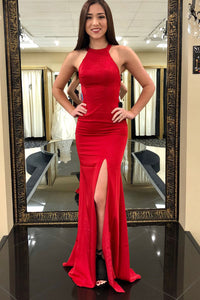 Sheath Red Evening Dresses Stretch Satin Jewel Simple Evening Gown OP605