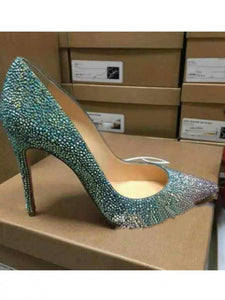 Sheepskin Closed Toe Stiletto High Heel With Rhinestone OS103