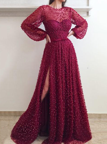 Sheer Neckline Puff Sleeves Burgundy Prom Dress, Slit Formal Evening Dress With Beaded OP665